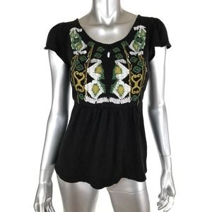 INC Knit Top Small Black Green White Embroiderered